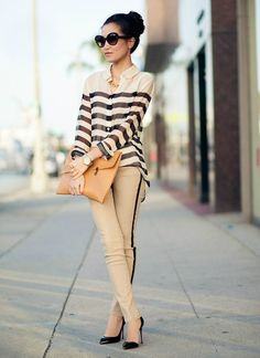 Striped blouse with striped tuxedo pants