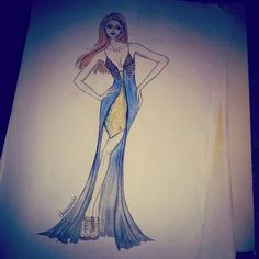 Gold and blue dress. ♡