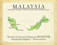 Malaysia Map, Personalized Travel Journal, Gift Idea for Family, Unique Present for Friends, Popular Vacation Keepsake, Travel Quote  #MalysiaMap #TravelJournalPrint #TravelQuote