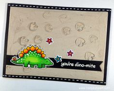 "Lawn Fawn - Critters from the Past + coordinating dies _ awesome card by Joanna _ Dino in the desert with background created by homemade ""embossing paste"" + Video {pin of the day} Cute Happy Birthday, Kids Birthday Cards, Card Making Inspiration, Making Ideas, Mama Elephant Cards, Dinosaur Cards, Lawn Fawn Stamps, Card Tags, Kids Cards"