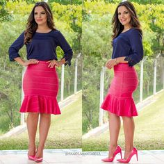 {Conjunto by @madame.mi Blusa Azul e Saia Bandagem @madame.mi} http://www.madamemimodafeminina.com.br  (048) 9185 2076 @madame.mi Scarpin: @marleneshoes