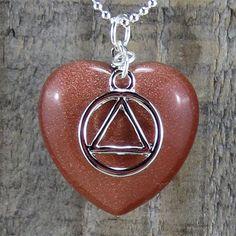 """AA Goldstone Heart Pendant - """"Courage"""""""