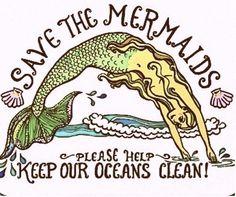 mantén los mares limpios, salva a las sirenas