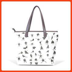 CCBHGY Women's Walking Man pattern Leather Handbag Zipper Shoulder Bag Tote Bag