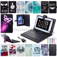 """For Lenovo Tab Tab2 Tab3 7"""" 8"""" 10.1"""" Tablet PU Leather Case Cover with Keyboard 