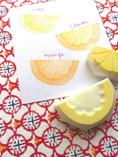 citrus rubber stamp. hand carved stamp. hand by talktothesun