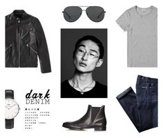 """DARL DENIM"" by canvas-moods ❤ liked on Polyvore featuring 7 For All Mankind, Acne Studios, Michael Kors, Daniel Wellington, men's fashion, menswear, michaelkors, acnestudios, danielwellington and darkdenim"