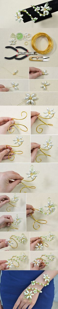 How to Make a Personalized Wire Wrap Pearl Flower Bracelet (How To Make Curtains Tie)