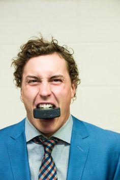 Colorado Avalanche defenseman Tyson Barrie- puck is friend, not food!