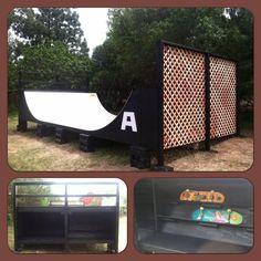 12' x 4' Birch Mini Ramp with Lattice, Storage and Shelving - Aura Skateboarding