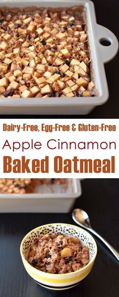 Vegan Apple Cinnamon Baked Oatmeal Recipe (dairy-free, egg-free, gluten-free and plant-based; optionally nut-free)