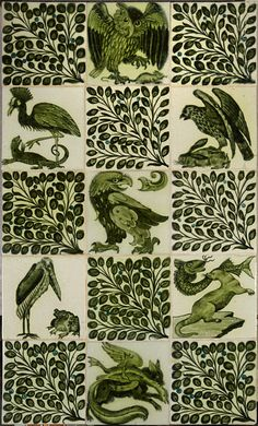 Panel of fifteen tiles; green enamel beasts and peacock feathers painted on a white slip background; William de Morgan, England, probably Fulham Period 1887-1907.