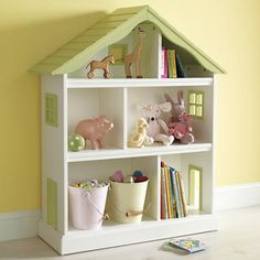 The yellow cape cod doll house bookcase for a kid 39 s room so sweet skye home decor and - Adorable dollhouse bookshelves kids to decorate the room ...
