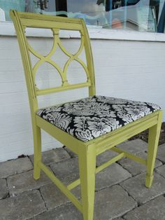 This Duncan Phyfe chair was updated in yellow with a black and white graphic fabric