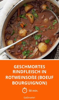 Braised beef in red wine sauce (Boeuf Bour- Braised beef in red wine sauce (Boeuf Bourguignon) – smarter – calories: 558 kcal – time: 50 min. Healthy Beef Recipes, Beef Recipes For Dinner, Crockpot Recipes, Meal Recipes, Asian Recipes, Beef Bourguignon, Crockpot Beef And Broccoli, Beef Recipe Instant Pot, Easy Beef Stew