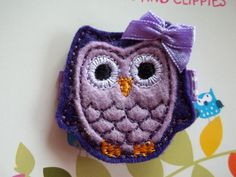 Purple Wool Felt Owl Hair Clip Clippie Baby Toddlers Girls