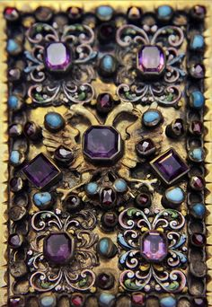 Hungarian, 17th century work.  Not sure if this is part of an icon ~ but the work is GORGEOUS!  Amethyst, turquoise & rubies set in gold.  Ornate scroll work.