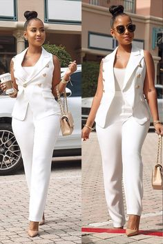 Fashion Button Vest White Two-piece Pants Suit Classy Work Outfits, Classy Dress, Chic Outfits, Dress Outfits, Fashion Outfits, Vest Outfits For Women, Clothes For Women, Wedding Outfits For Women, Suit Fashion