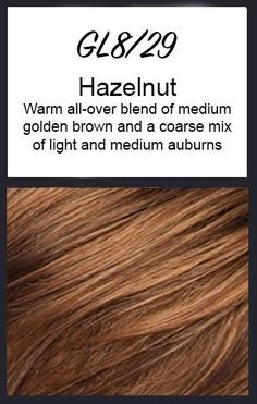 Color swatch showing Gabor's GL8/29: Hazelnut - Warm all-over blend of medium golden brown and a coarse mix of light and medium auburns