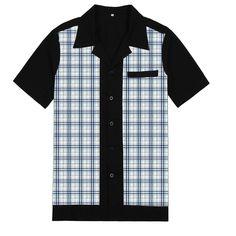 Cocktail Lounge Schwarz Steady Clothing Rockabilly Vintage Bowling Shirt Hemd