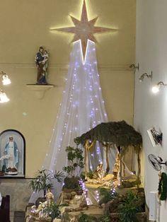Church Altar Decorations, Church Christmas Decorations, Christmas Nativity Scene, Christmas Lights, Christmas Time, Xmas, Holiday Decor, Christmas Crib Ideas, Christmas Flowers