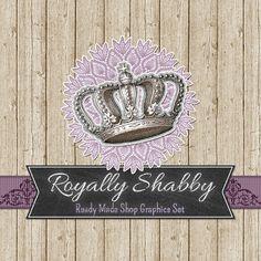 Crown & Chalkboard Shop Banners Avatars Business by CyanSkyDesign