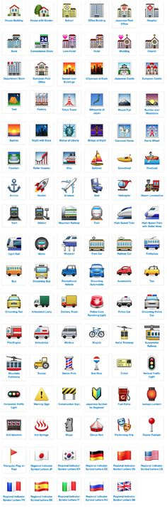 emoji icon list places and travel with meanings and definitions