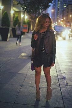 Fashion Blog | Fashion Blogger | Zara Pleather Skort | H&M Sweater | H&M Jacket | Nastygal Studded Booties | House of Harlow 1960 Necklace