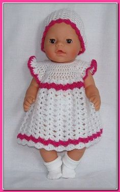 Crochet Doll Dress Crochet Doll Clothes Knitted Dolls Baby Born Clothes Pet Clothes Crochet Boots Baby Girl Crochet Crochet For Kids Baby Dolls Knitting Dolls Clothes, Crochet Doll Clothes, Knitted Dolls, Doll Clothes Patterns, Doll Patterns, Crochet Doll Dress, Crochet Doll Pattern, Baby Born Kleidung, Baby Born Clothes