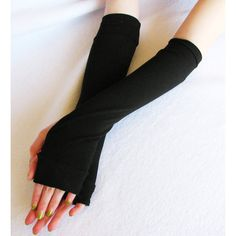 Fingerless Gloves: Black ,Bamboo, Long arm warmers, Eco Fashion, Eco Friendly, Sustainable, Extra Long, Classic Gift ($18) found on Polyvore