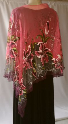 Poncho.Natural silk poncho wrap pink lily painted wrap