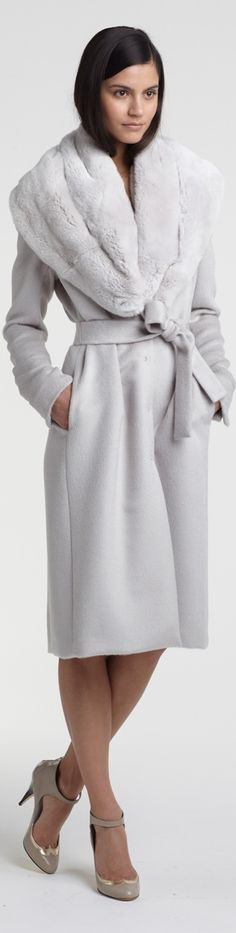 Azzaro Couture FW 2013 - lovely white winter coat with fur collar