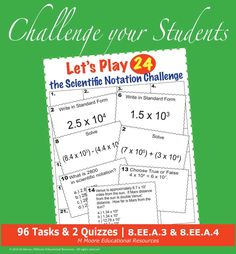 Scientific Notation - Let's Play 24 Challenge - Task Cards, Quizzes, & More! 9th Grade Math, 12th Maths, Cooperative Learning, Student Learning, School Resources, Teacher Resources, Math Games, Math Activities, Middle School
