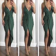 Jeanina Deep V Drape Dress in Hunter Green. Shop: emprada.com