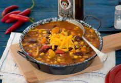 Így készül a tökéletes chili con carne, a mexikóiak chilis babja Cheddar, Polenta, Soup, Chilis, Bab, Chili Con Carne, Cheddar Cheese, Chili, Chile