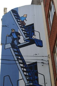 Doorheen de straten van Brussel kan je Street Art bezichtigen. Sommige vertegenwoordigen Belgische stripfiguren.