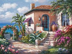 Sung Kim   Tutt Art Cross Paintings, Your Paintings, Landscape Paintings, House Painting, Diy Painting, Castle Tattoo, Pintura Exterior, Villa, Color By Numbers