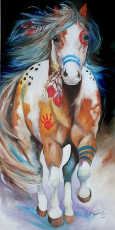 BRAVE ~ the INDIAN WAR HORSE - by Marcia Baldwin from Animal Wildlife Art Gallery Wow What a beautiful horse. I love these horses - this would not scare me though. Native American Horses, Native American Paintings, Native American Nursery, American Indians, Native American Drawing, Native American Tattoos, Native American Decor, Running Art, Indian Horses