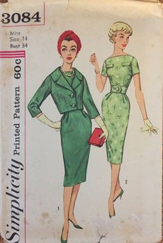 VTG 3084 Simplicity 1959 misses' dress & by ThePatternParlor