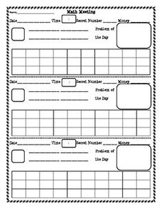This template can be used as a daily Math Meeting or as a Math Warm-up. When printed double-sided is can be used all week long! There are 5 spaces provided for each day of the week. I have used this in my classroom for years. It is perfect for an everyday review of basic math skills.
