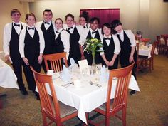 Students in the Hotel/Restaurant Management Program pose for a picture before opening the doors for a fine dinner featuring a sampling of menu selections that were enjoyed by passengers of the Titanic on April 14, 1912. The meal was prepared by the students in the Event Planning class, and service was provided by students in the Management of Food and Beverage Service class.