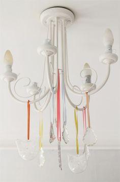 Simple budget friendly bedroom updates - ribbon chandelier