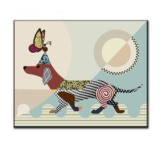 Dachshund Art Dog Art Work on Woodblock Abstract Dog by iQstudio, $40.00