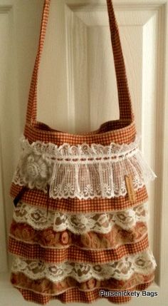 SALE - Gypsy Bag, large bohemian bag soft thick gingham and florall fabric and ruffled lace