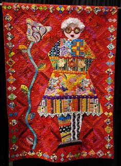 """Self-Portrait"" - by Freddy Moran.  Love her quote that she stitched in which says, ""Red is Neutral""."