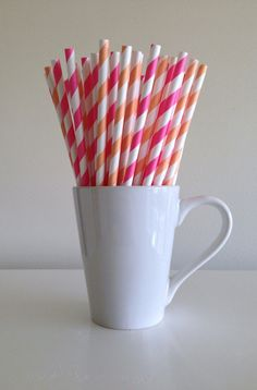 Paper Straws - 25 Peach and Pink / Coral and Bubblegum Pink Striped Party Straws by PuppyCatCrafts, $3.60