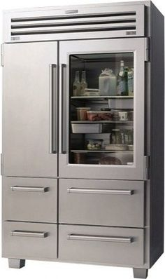 Commercial-style and high-efficiency refrigeration from Sub-Zero (model 648PROG).  If only I had 16 thousand dollars to spend on a fridge!  From http://www.houzz.com