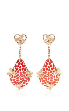 Red Patterned Enamel And Diamond Butterfly Earrings by Bochic for Preorder on Moda Operandi