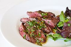 Skirt Steak with Chimichurri Sauce Recipe| After the holidays, over romaine. Light but hearty.
