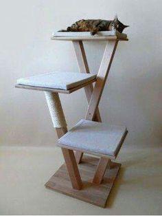 Cats Toys Ideas - DIY Cat - Ideal toys for small cats Diy Cat Tower, Cat Tree Plans, Cat Climber, Cat Towers, Cat Playground, Playground Design, Cat Scratching Post, Cat Room, Cat Condo